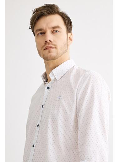 Avva Erkek  Baskılı Alttan Britli Slim Gömlek A01S2229 Beyaz